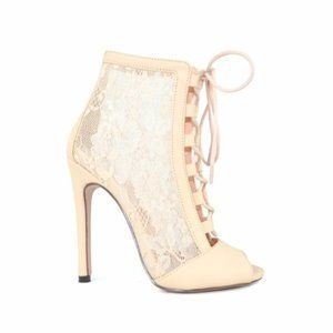 NEW WOMEN'S LACE UP OPEN TOE ANKLE BOOTS NUDE